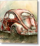 An Oval Window Bug In Deep Red Metal Print by Michael David Sorensen