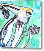 Angel Fish And Hatchet Tetras Metal Print