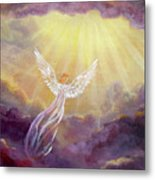 Angel In Mauve Clouds Metal Print