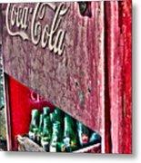 Antique Coca Cola Coke Refrigerator Metal Print