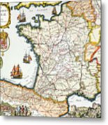 Antique Map Of France Metal Print