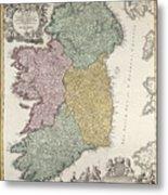 Antique Map Of Ireland Showing The Provinces Metal Print
