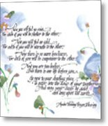 Apache Wedding Prayer Blessing Metal Print by Darlene Flood