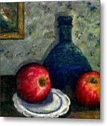 Apples And Bottles Metal Print