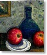 Apples And Bottles Metal Print