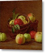 Apples In A Basket And On A Table Metal Print by Ignace Henri Jean Fantin-Latour
