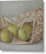 Apples In A Paper Bag Metal Print