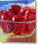 Apples In Wirebasket Metal Print