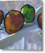 Apples On Cloth Metal Print