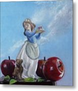 Apples With Figurine Metal Print by Robert Tracy