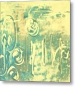 Aqua Monotype Metal Print