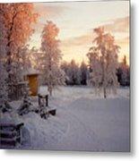 Arctic Homestead Metal Print