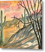 Arizona Evening Southwestern Landscape Painting Poster Print  Metal Print