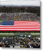 Army An American Flag Spans Michie Stadium Metal Print by Associated Press