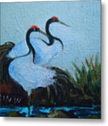 Asian Cranes 2 Metal Print