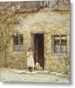 At The Cottage Door Metal Print