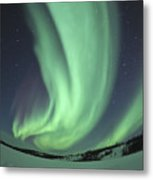 Aurora Borealis Over Prosperous Lake Metal Print