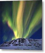 Aurora Borealis Over Toviktinden Metal Print