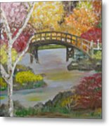 Autum Bridge Metal Print