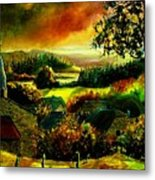 Autumn In Our Village Ardennes Metal Print