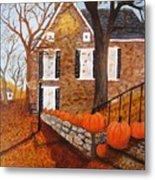 Autumn Stone House Metal Print