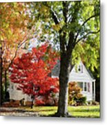 Autumn Street With Red Tree Metal Print