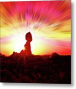 Balanced Rock Sunset - Fire In The Sky Metal Print