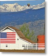 Balloon Barn And Mountains Metal Print