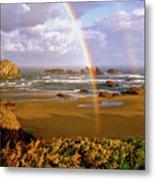 Bandon Beach Rainbow Sunrise Metal Print by Ed  Riche
