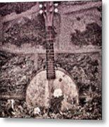 Banjo Mandolin On Garden Wall Metal Print