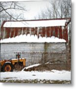Barn And Tractor Metal Print