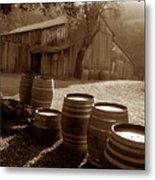 Barn And Wine Barrels 2 Metal Print by Kathy Yates