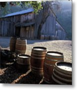 Barn And Wine Barrels Metal Print by Kathy Yates