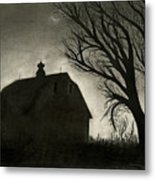 Barn Sillouette Metal Print by Bryan Baumeister