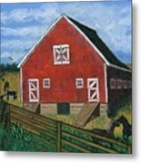 Barnyard On The Prairie Metal Print