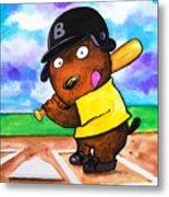 Baseball Dog Metal Print