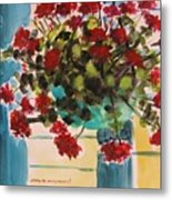 Basket Of Geraniums Metal Print
