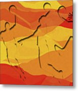 Basketball Players Abstract Metal Print
