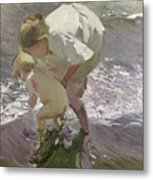 Bathing On The Beach Metal Print