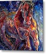 Batik Equine Abstract  Powerful By M Baldwin Metal Print