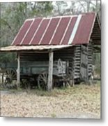Battered Barn And Weathered Wagon Metal Print
