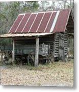 Battered Barn And Weathered Wagon Metal Print