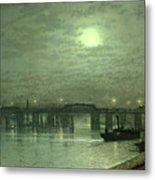 Battersea Bridge By Moonlight Metal Print by John Atkinson Grimshaw