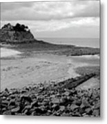 Beach At Low Tide In Brittany Metal Print