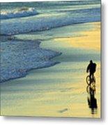 Beach Biker Metal Print