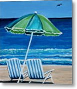 Beach Chair Bliss Metal Print