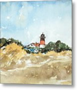 Beach Light House Metal Print