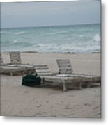 Beach Loungers Metal Print
