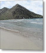 Beach Mountain Clouds Metal Print