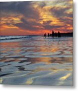Beach Play At Dusk Metal Print